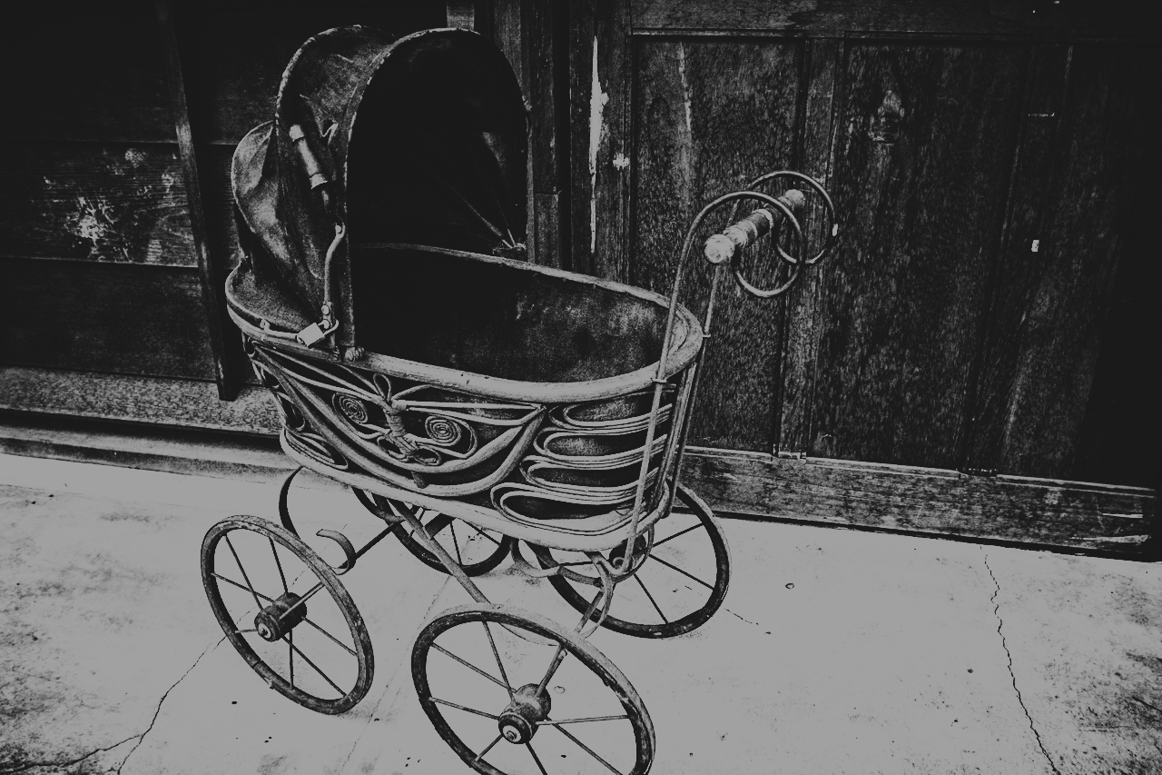 old-time baby carriage